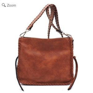Handbags - NEW Messenger Side Zipper Crossbody Bag Brown